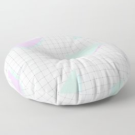 Cool-Color Pastel Triangles on Grid Floor Pillow