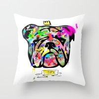 bulldog Throw Pillows featuring Bulldog by morganPASLIER