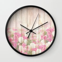 Beautiful Pink Tulip Floral Vintage Shabby Chic Wall Clock