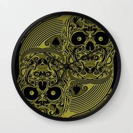 Ace of Spades Gold Skull Playing Card Wall Clock