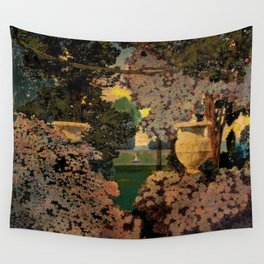 The oaks, the garden of years and other poems floral portrait by Maxfield Parrish Wall Tapestry