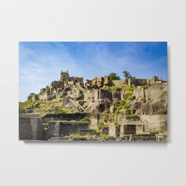Panorama Shot of the Many Layers and Structures at Golconda Fort in Hyderabad, India Metal Print