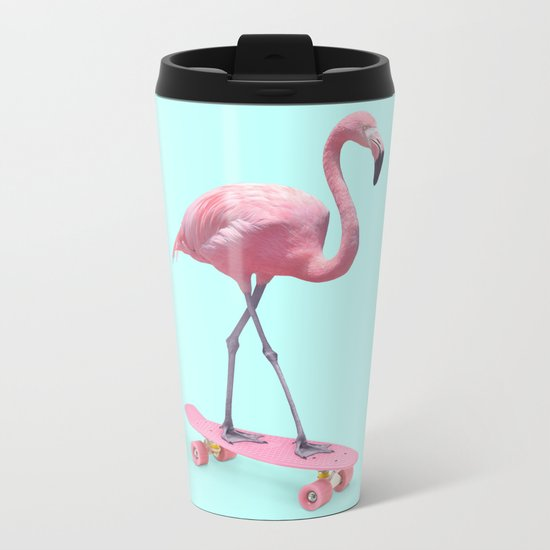 SKATE FLAMINGO Metal Travel Mug