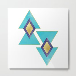 Aqua and gold triangles Metal Print