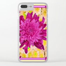 Styalized Art Purple & Yellow Chrysanthemums Floral Garden Clear iPhone Case