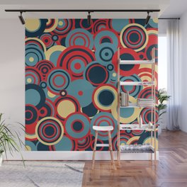 circles-red-blue-cream Wall Mural