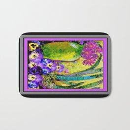 Chartreuse-Violet art Vase Pansies Floral Painting Bath Mat
