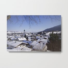 Snowy Rooftops in the Alps Metal Print