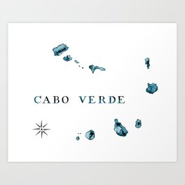Islands: Watercolor Map of Cabo Verde Art Print