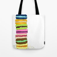 macaroons Tote Bags featuring Macaroons by Pea Press