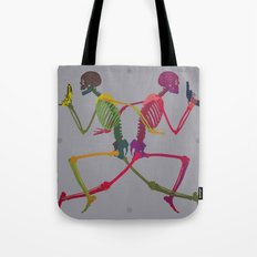 Running Skeleton with Banana n Gun Tote Bag