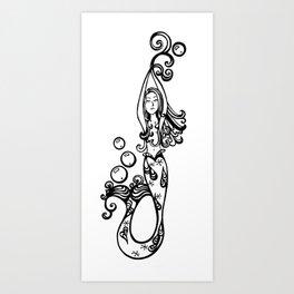 vertical mermaid Art Print
