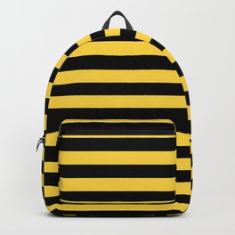 Even Horizontal Stripes, Yellow and Black, M Backpack