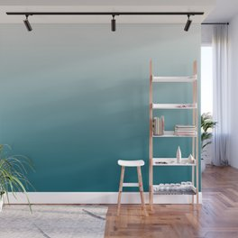 Off White Gradient on Tropical Dark Teal Inspired by Sherwin Williams 2020 Trending Color Oceanside SW6496 Wall Mural