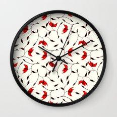 Strange Red Flowers Pattern Wall Clock