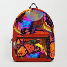 DECORATIVE MONARCH BUTTERFLIES & SOAP BUBBLES  ON TURMERIC  COLOR ART Backpack