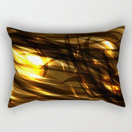 Saturated copper and smooth sparkling lines of black tapes on the theme of space and abstraction. Rectangular Pillow