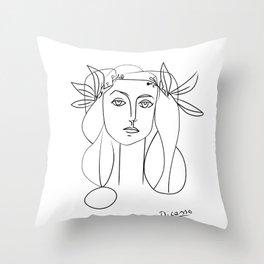 Picasso lady  Modern Sketch Picasso Art Modern Minimalist Throw Pillow