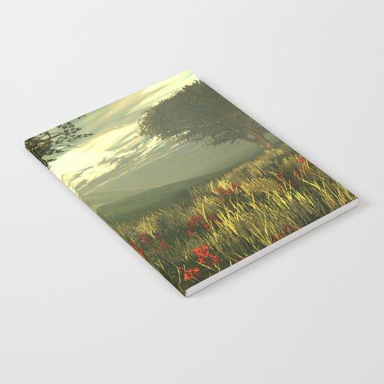 Summer tree in a poppy field Notebook