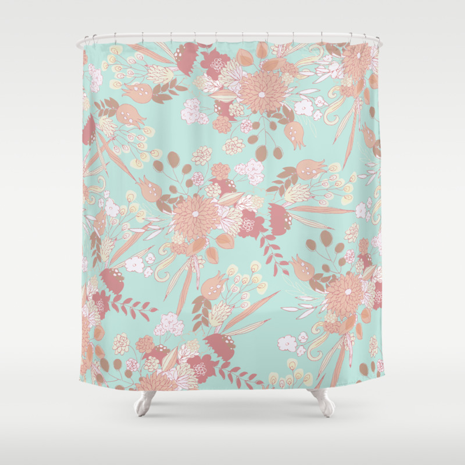 Vintage Green Pastel Coral White Rustic Floral Shower Curtain By Pink Water Society6