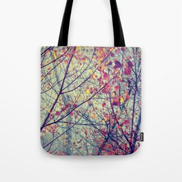 trees misty morning Tote Bag