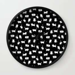 White cats on black Wall Clock