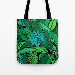 Jungle Leaves Illustrated in Black Tote Bag