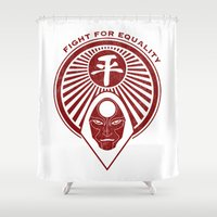 airbender Shower Curtains featuring Legend of Korra- Amon - Fight for Equality by TerraBlack