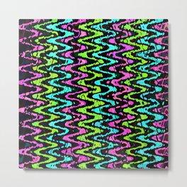 Wavy Neon Metal Print
