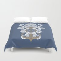 maori Duvet Covers featuring Octopus anchor and compass in tribal style by pakowacz