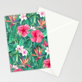 Classic Tropical Garden with Pink Flowers Stationery Cards