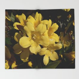 Yellow Carolina Jasmine Blossom Close Up Throw Blanket