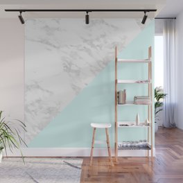 White Marble with Pastel Blue and Grey Wall Mural