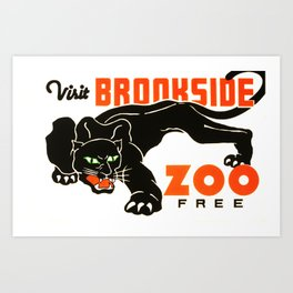 Visit Brookside Zoo for Free Black Panther 1937 Federal Art Project Old American Travel Poster Art Print