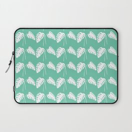 White Monstera Leaf Watercolor on Teal Laptop Sleeve