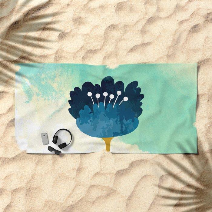 Acuarela Blue Flower Beach Towel