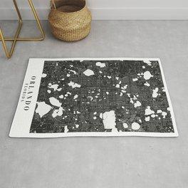 Orlando Florida Minimal Black Mono Street Map  Rug