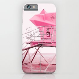 Malibu Lifeguard Tower in Pink iPhone Case