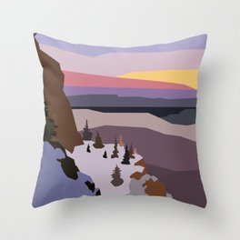 Winter rock picks, cloudy sky and trees Throw Pillow