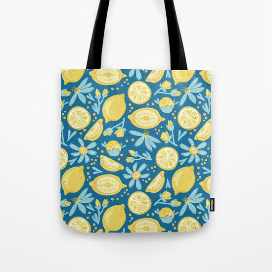 Lemon Pattern Blue Tote Bag