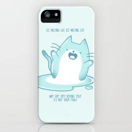 Kawaii Ice melting cat iPhone Case