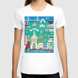 Oakland, California - Collage Illustration by Loose Petals T-shirt