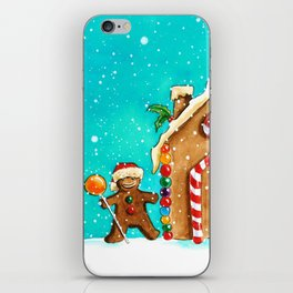 Christmas gingerbread party iPhone Skin