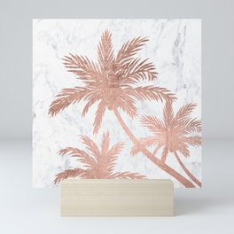 Tropical simple rose gold palm trees white marble Mini Art Print