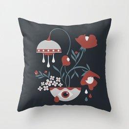 Dark Funky Flowers Throw Pillow