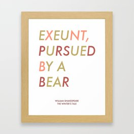 Shakespeare - The Winter's Tale - Exeunt Exit Pursued by a Bear Framed Art Print