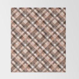 Beige, brown tartan plaid. Throw Blanket