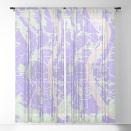 Cologne map violet Sheer Curtain