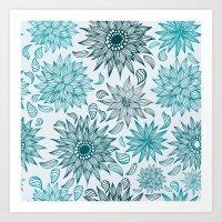 Seamless flower pattern Art Print
