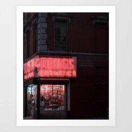 New York City Travel Photo, Wall Art, NYC Night, Minimalist Print, Wall Decor, Neon Lights, Manhattan, Street Landscape Photography Art Print